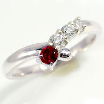 ルビーリング:ピンキーリング:プラチナ900:ダイヤモンド/Pt900指輪:天然ルビー:7月誕生石【送料無料】