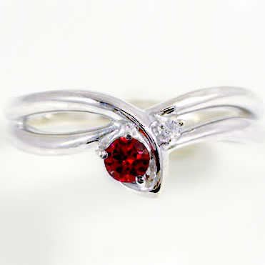 ルビーリング:ピンキーリング:ホワイトゴールドK18:ダイヤモンド/k18WG指輪:天然ルビー:7月誕生石