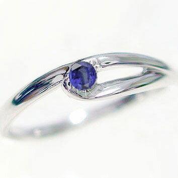 指輪:サファイヤリング:ホワイトゴールドk18:ピンキーリング/K18wg:天然サファイヤ:9月誕生石【送料無料】