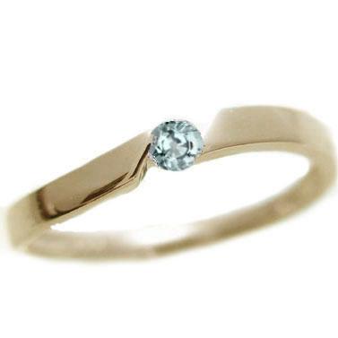 アクアマリン:ピンキーリング:イエローゴールドk10:3月誕生石アクアマリン:リング/k10 指輪【送料無料】