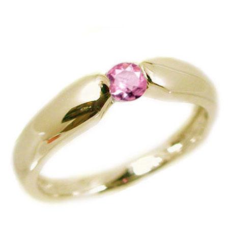 ピンクサファイヤリング:イエローゴールドk18:ピンクサファイヤ:ピンキーリング/K18 指輪 ピンクサファイヤ:9月誕生石【送料無料】