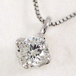 【送料無料】ダイヤモンドネックレス:プラチナペンダント/Pt900ネックレス:一粒ダイヤ0.10ctペンダント
