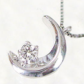 【送料無料】ダイヤモンド:ネックレスホワイトゴールドk18:三日月ダイヤモンド:ネックレス,ペンダント K18WGネックレスダイヤモンド:0.03ct☆