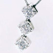 ダイヤモンド:ネックレス:ホワイトゴールドk18ペンダント:スリーストーンホワイトゴールドk18ネックレスダイヤモンド:0.3ctペンダント