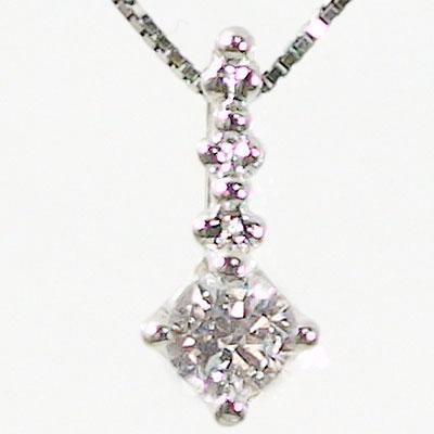 ダイヤネックレス k18ホワイトゴールド ペンダント:ダイヤモンド 0.1ctペンダントネックレス K18wg