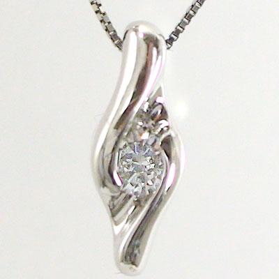 【送料無料】ダイヤネックレス k18ホワイトゴールド ペンダント ダイヤモンド0.1ct ペンダント ネックレスK18wg 4月誕生石