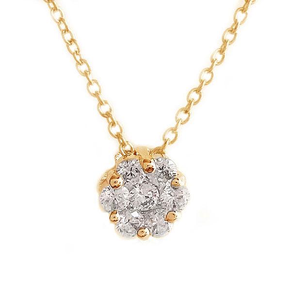 ピンクゴールド K10 ダイヤモンド ネックレス ペンダント K10pg ダイヤ 0.17ct【送料無料】