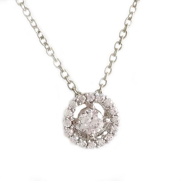 ホワイトゴールド K18 ダイヤモンド ネックレス ペンダント K18wg ダイヤ 0.09ct【送料無料】