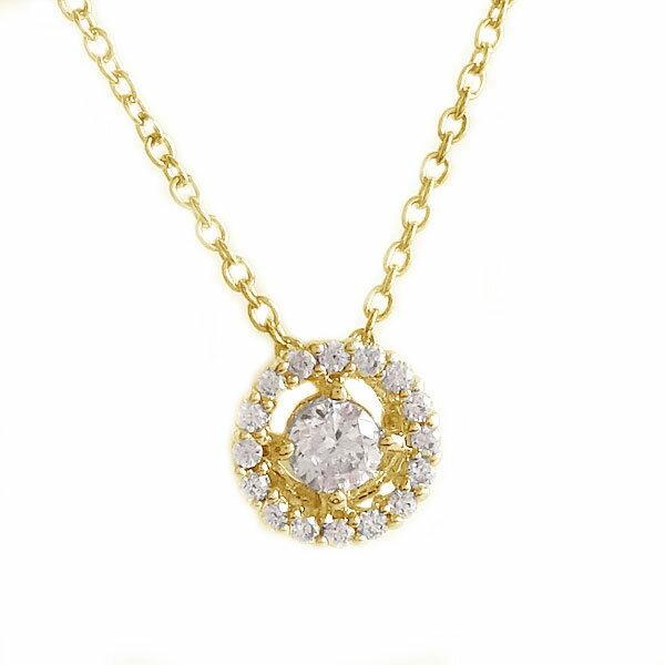 ゴールド K18 ダイヤモンド ネックレス ペンダント K18yg ダイヤ 0.09ct【送料無料】