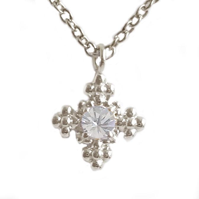ホワイトゴールド K18 ダイヤモンド ネックレス ペンダント レディース K18wg ダイヤ 0.05ct【送料無料】