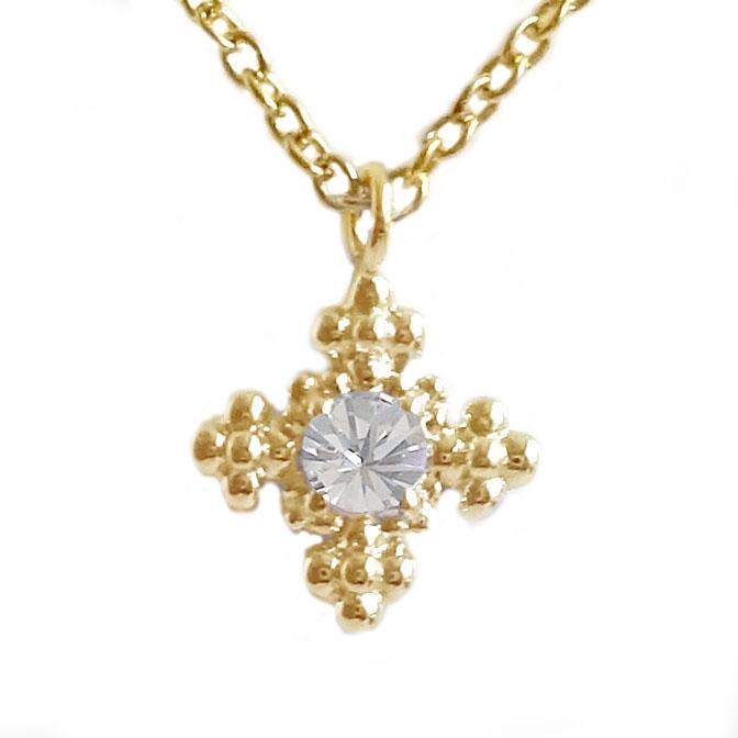 イエローゴールド K18 ダイヤモンド ネックレス ペンダント レディース K18yg ダイヤ 0.05ct【送料無料】