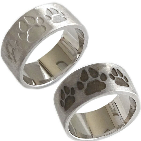 ホワイトゴールド K10 ペアリング イヌの肉球 結婚指輪 マリッジリング ペア2本セット K10wg 指輪【送料無料】