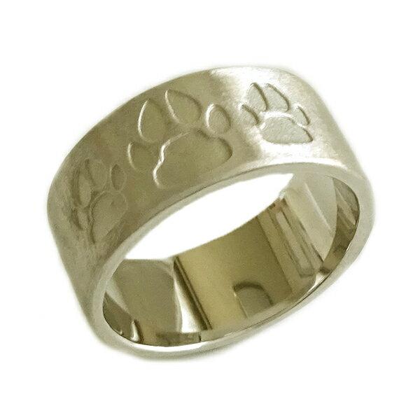 幅広 ゴールド K10 リング イヌの肉球 K10yg 平打ち 指輪【送料無料】