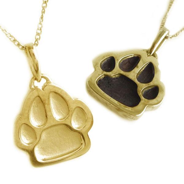 ゴールド K18 ペア ペンダント ネックレス 2本セット イヌ 犬 いぬ 肉球 K18yg 【送料無料】