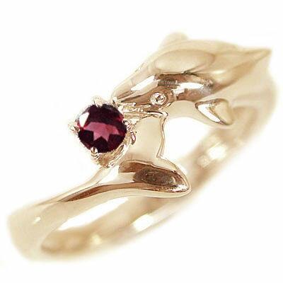 ハワイアン ドルフィンリング ピンクゴールドk10 1月から12月までの誕生石の中から宝石が選べる ハワイアンジュエリー ドルフィン リング ピンクゴールドk10 天然石 宝石 カラーストーン 指輪 選べる誕生石 K10pg イルカ【送料無料】