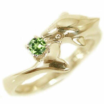 ハワイアンジュエリー ドルフィン リング イエローゴールドk18 天然石 宝石 カラーストーン 指輪 選べる誕生石 K18yg イルカ【送料無料】