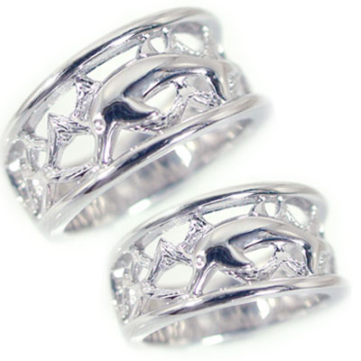 結婚指輪 マリッジリング ペアリング ホワイトゴールドk10 ペア2本セット K10wg 指輪 ドルフィンリング【送料無料】