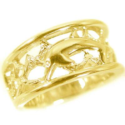 ハワイアンジュエリー ドルフィンリング ゴールドK18 指輪 K18 イルカ【送料無料】