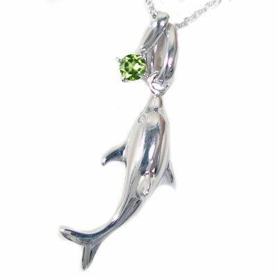 ハワイアンジュエリー シルバー ドルフィン ネックレス 選べる宝石 SV925 天然石 ペリドット【送料無料】