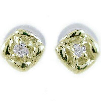 ダイヤモンドピアス イエローゴールドk10 ダイヤピアス フラワーデザイン K10yg ピアス ダイヤ 0.02ct