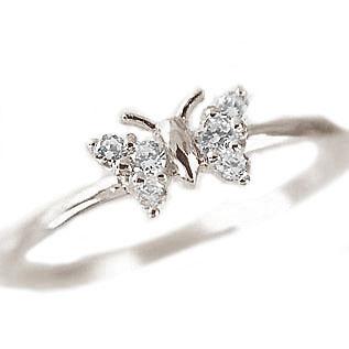 ピンキーリング:ダイヤモンド:プラチナ900/ダイヤモンドリング/PT900指輪ダイヤ0.1ct/ちょうちょのデザイン【送料無料】