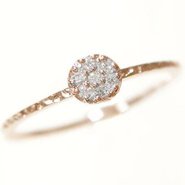 ピンキーリング:ピンクゴールドK18:ダイヤモンドリング/K18PG指輪ダイヤ0.08ct【送料無料】