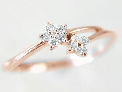 ピンキーリング ピンクゴールド K18 ダイヤモンドリング K18PG 指輪 ダイヤ 0.1ct【送料無料】