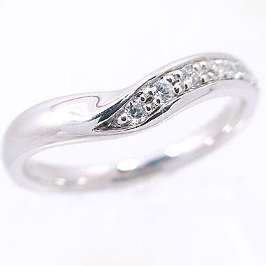 指輪:ダイヤモンドリング:プラチナ900/やわらかなV字のダイヤリング/Pt900指輪ダイヤ0.08ct【送料無料】