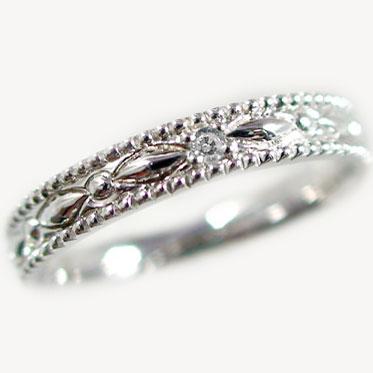 送料無料!指輪:ホワイトゴールドk18/ダイヤモンドリング/ピンキーリングとしてもおすすめ/ダイヤリング:K18wg指輪ダイヤモンド0.01ct