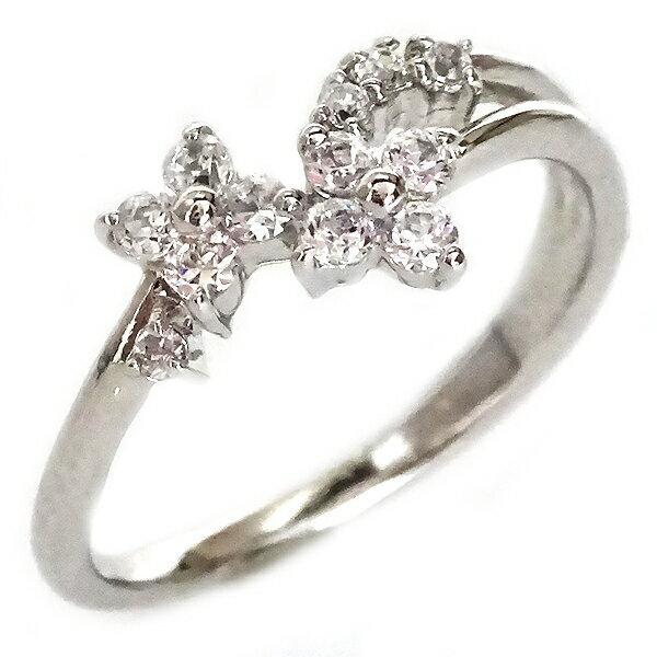 ダイヤモンド リング ホワイトゴールド K18 花 フラワー K18wg ダイヤ 0.09ct【送料無料】