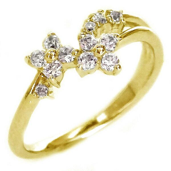 ダイヤモンド リング ゴールド K18 花 フラワー K18yg ダイヤ 0.09ct【送料無料】
