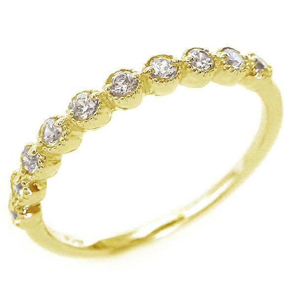 ゴールド K18 ダイヤモンド ハーフ エタニティー リング K18yg【送料無料】
