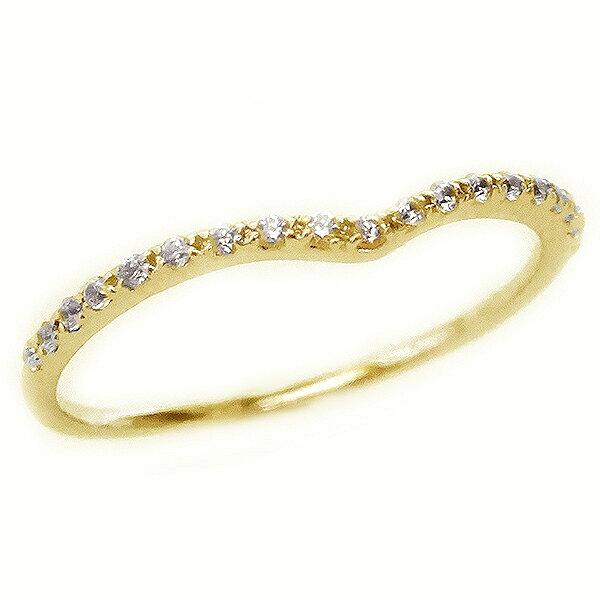 ゴールド K18 ダイヤモンド V字 ハーフ エタニティー リング K18yg【送料無料】
