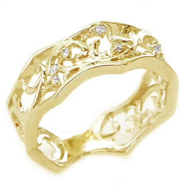 ゴールド K18 リング ダイヤモンド 幅広 透かし ピンキーリング K18yg【送料無料】