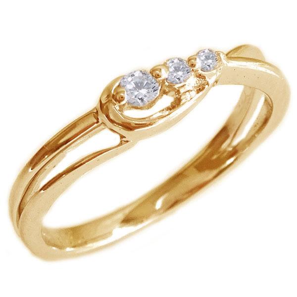 スリーストーン ダイヤモンド リング ピンクゴールドK18 ダイヤ 0.06ct K18pg【送料無料】