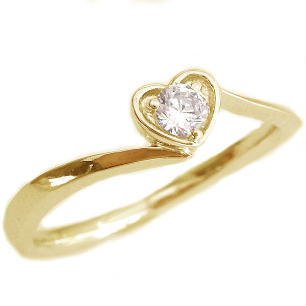 ハート ダイヤモンド リング ゴールド K18 ダイヤ 0.1ct K18yg【送料無料】