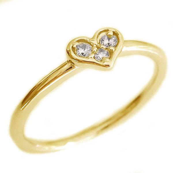 ハート ダイヤモンド リング ゴールド K18 ダイヤ 0.05ct K18yg【送料無料】