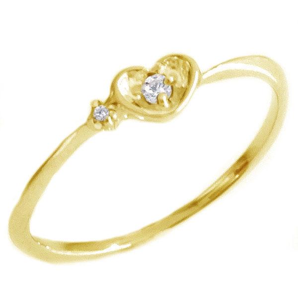 ハート ダイヤモンド リング ゴールド K18 レディース ダイヤ 0.01ct K18yg【送料無料】