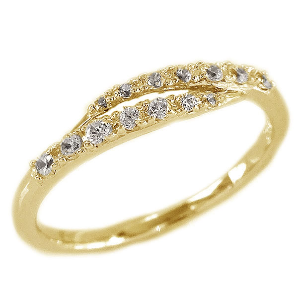 ダイヤモンド リング イエローゴールド K18 レディース ダイヤ 0.16ct K18yg【送料無料】