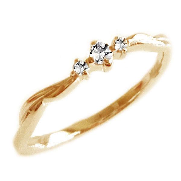 ダイヤモンド リング ピンクゴールド K18 レディース ダイヤ 0.05ct K18pg【送料無料】