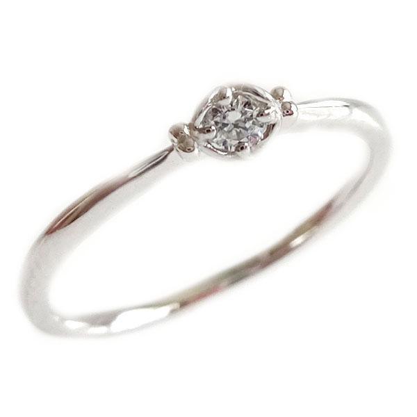 ダイヤモンド リング ホワイトゴールド K18 ダイヤ 0.05ct K18wg 指輪【送料無料】