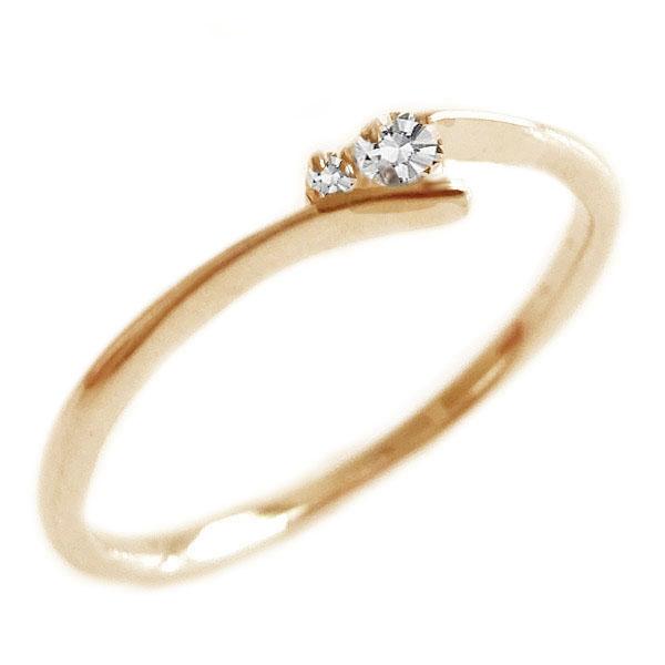 ダイヤモンド リング ピンクゴールド K18 ダイヤ 0.06ct K18pg【送料無料】