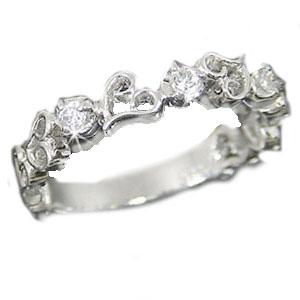 ダイヤモンドリング ホワイトゴールドk18 ハートモチーフ K18wg指輪 スリーストーンダイヤモンド 0.10ct【送料無料】