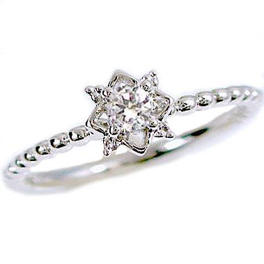 指輪:プラチナ/一粒ダイヤモンドリング/ピンキーリングとしてもおすすめ/ダイヤリング:Pt900指輪ダイヤ0.10ct【送料無料】