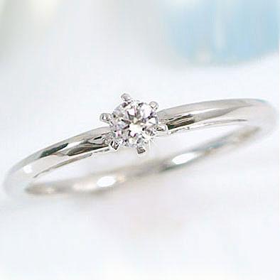 ピンキーリング ダイヤモンド ホワイトゴールドk18 指輪 一粒ダイヤリング K18WG ダイヤ 0.10ct【送料無料】