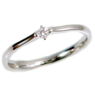 ピンキーリング ダイヤモンドリング ホワイトゴールドk18 一粒 ダイヤリング K18wg 指輪 ダイヤ 0.05ct【送料無料】