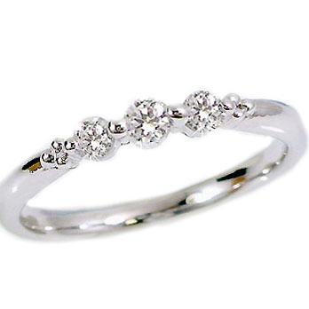 スリーストーン/ダイヤモンドリング:ピンキーリング:ホワイトゴールドk18:K18wg指輪ダイヤモンド0.17ct:3石【送料無料】