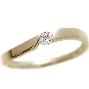 ダイヤモンド:イエローゴールドk10:ピンキーリング/一粒 ダイヤモンド/k10 指輪 ダイヤ 0.07ct【送料無料】