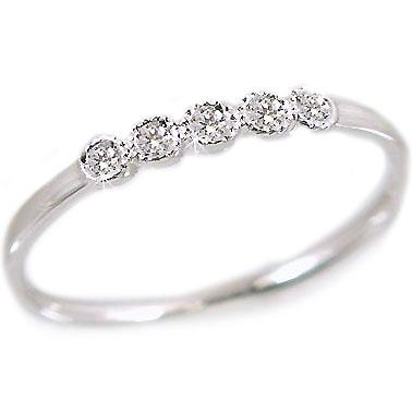 ピンキーリング ダイヤモンド ホワイトゴールドk10 ダイヤモンドリング k10wg 指輪 ダイヤ 0.05ct【送料無料】