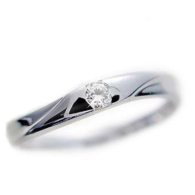 ダイヤモンド:ホワイトゴールドk10:ピンキーリング/一粒ダイヤモンド/k10wg指輪ダイヤ0.07ct【送料無料】